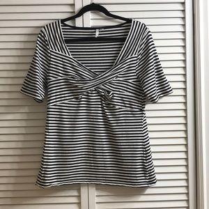 ELLE Black and White Stripe Top